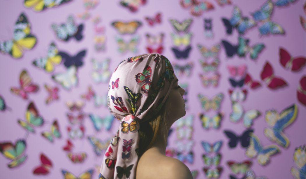 TURBANTE_Pink Butterflies Mantero per Dee di Vita